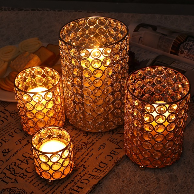 4 Sizes Cylinder Glass Tealight Candle Holders Metal Cup Crystal
