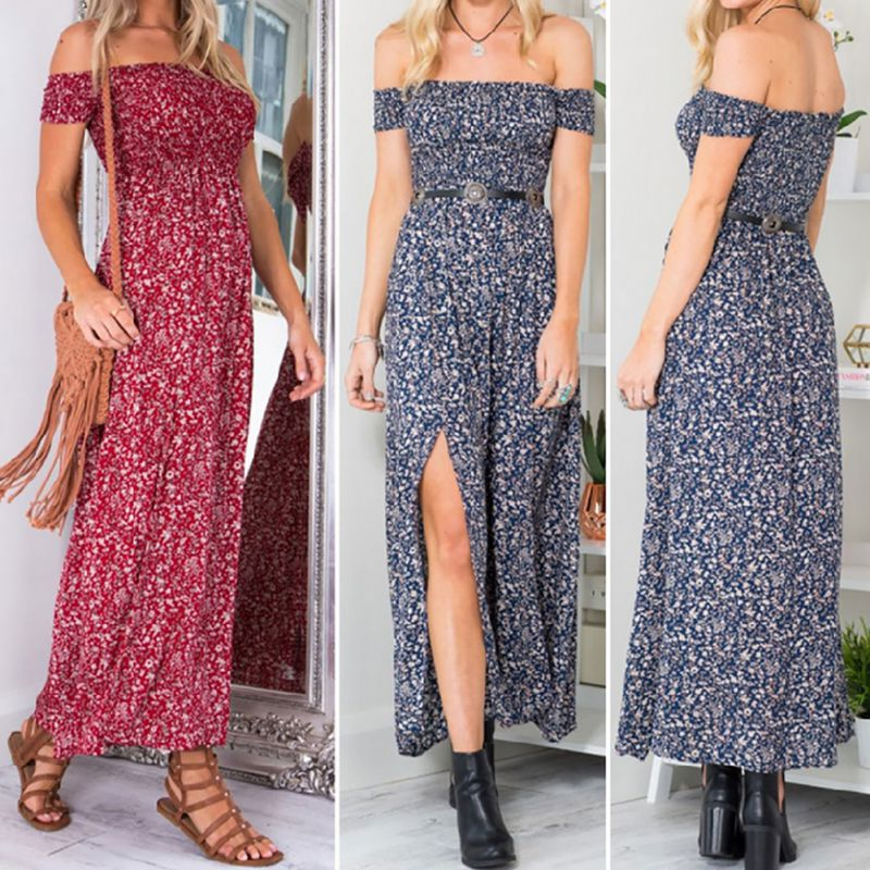 b52a78b0ab1 Summer Women Beach Dresses Vintage Floral Print Off Shoulder Split Tube Long  Party Maxi Dress-in Dresses from Women s Clothing on Aliexpress.com