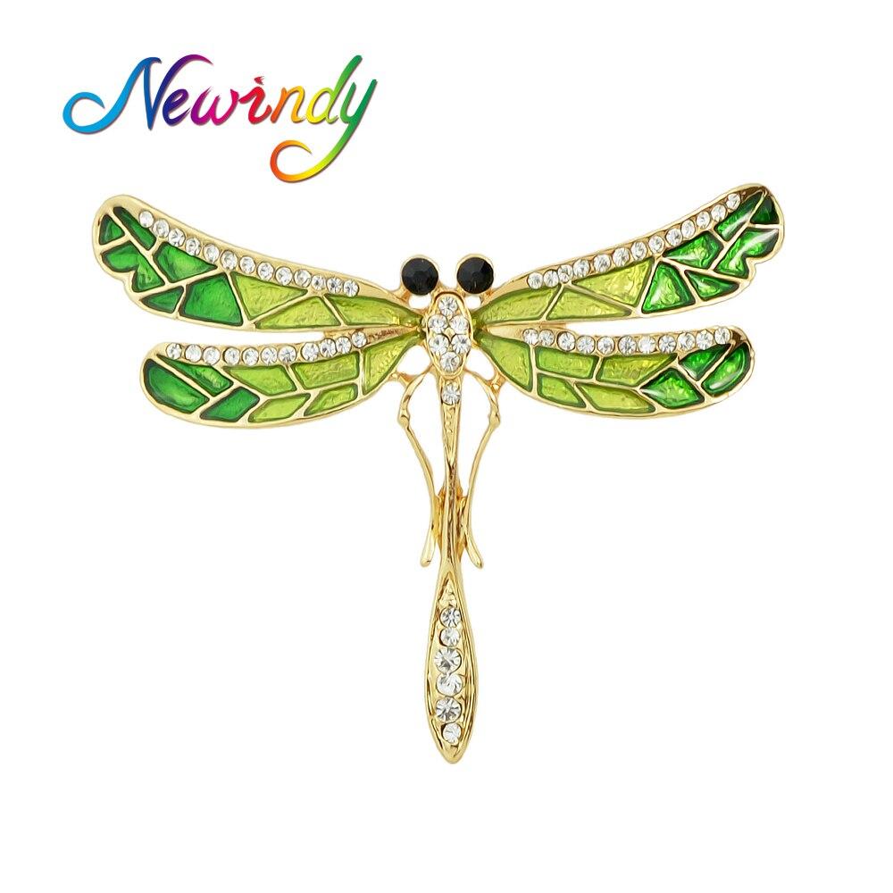 1a6fc3758710 Newindy Lujo Broches de Oro de Color Con Esmalte Verde Rhinestone Lovely  Dragonfly Patrón Accesorios Pasadores Broches para Dama en Broches de  Joyería y ...