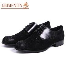 GRIMENTIN Vintage genuine suede leather men shoes casual sales black wedding crocodiel fashion male winter dress shoes men flats