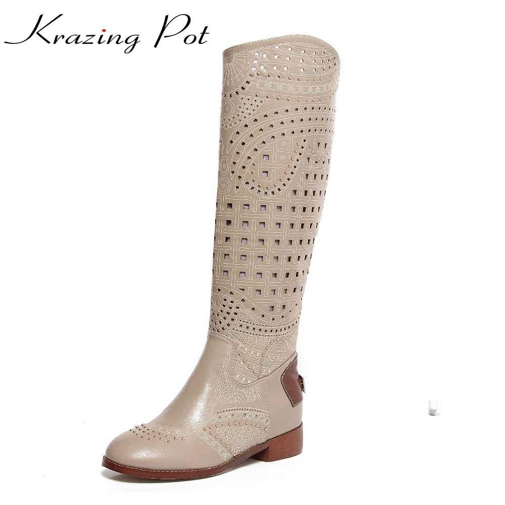 2017 marka ayakkabı cut çıkışları oyma hollow perçinler yuvarlak ayak elmas artı boyutu kadın yaz çizmeler med topuklar süperstar sandalet l9f2