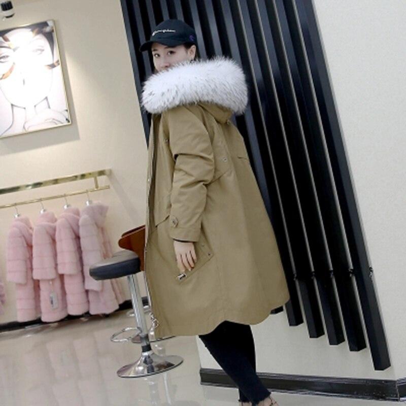 Réel Épaississement Capuchon Outwear Laveur 4 D'hiver Intérieure 2 Manteau Fourrure Casual Vêtements Femmes De 3 Raton 2018 1 Parka À Col Veste Vison 4O0wq67