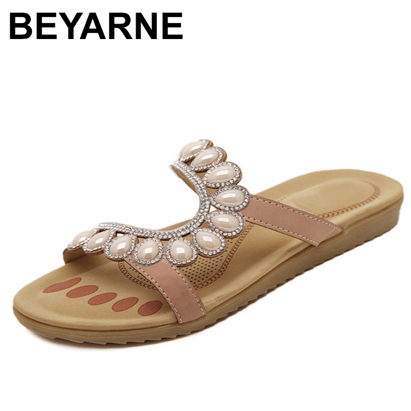 BEYARNE 2018 New Casual Shoes Woman Summer Sandals Rhinestone Women Comfortable Flat Beach Shoes Large Size EUR35-41 phyanic 2017 gladiator sandals gold silver shoes woman summer platform wedges glitters creepers casual women shoes phy3323