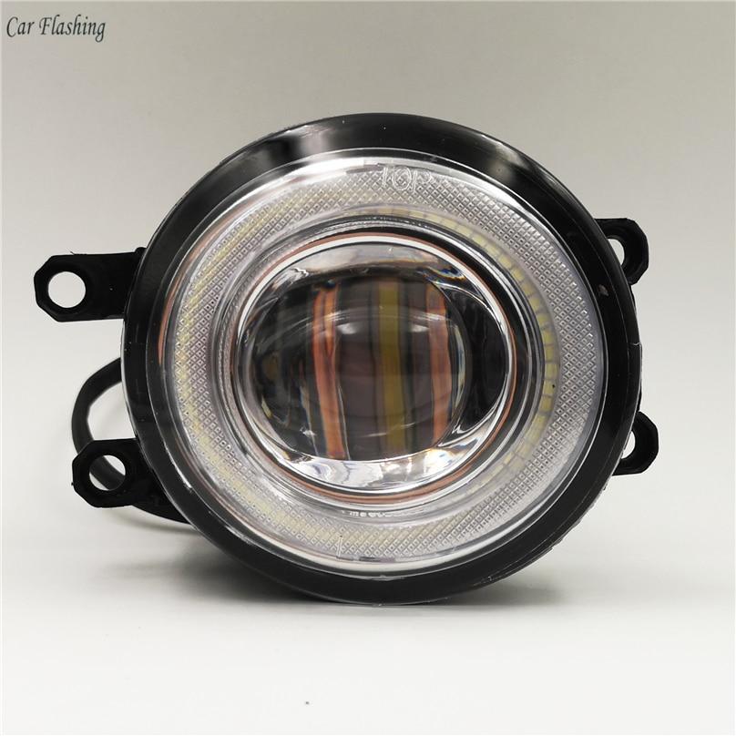 Car Flashing 2pcs LED Angel Eyes Fog Light Lamp DRL Daytime Running Light Daylight 2 Functions