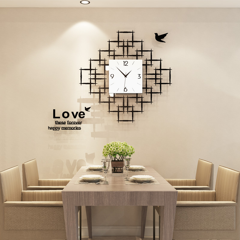 Livraison gratuite acrylique grande horloge murale Design moderne 16 pouces 3D Stickers muraux Ultra-calme Quartz suspendus noir horloges salon
