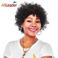 Alileader Kısa U Parçası Peruk Siyah Kadınlar Için Sentetik Hairwig Afro Kinky Kıvırmak African Saç Patlama Ile 150% Yoğunluk