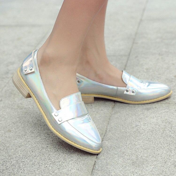 Pu 2017 Grande Casual 43 46 Mujeres Zapatos Beige Patente plata Tamaño Slip Punta Estrecha 47 44 Pisos As0012 negro 45 Estilo Creepers 42 Alta Plus Calidad on twBx6