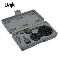 Urijk 11pcs Set Grey High Quality Woodworking Hole Saw Chrome Vanadium Steel Electric Center Drill Bits