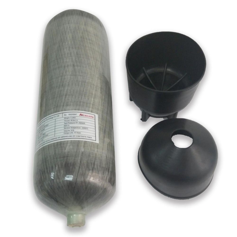6.8L ARA en fiber de carbone paintball réservoir bouteille cylindre 300 bar 4500 psi pour la respiration pcp pistolet à air de remplissage noir boot de ACECARE