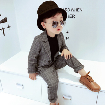 cfc153a655380 Sonbahar Çocuklar Blazer 2018 Yeni Kış Bebek Erkek Yelek Pantolon Ceket Takım  Elbise Erkek Resmi düğün kıyafeti Kalın Pamuk Çocuk Giyim