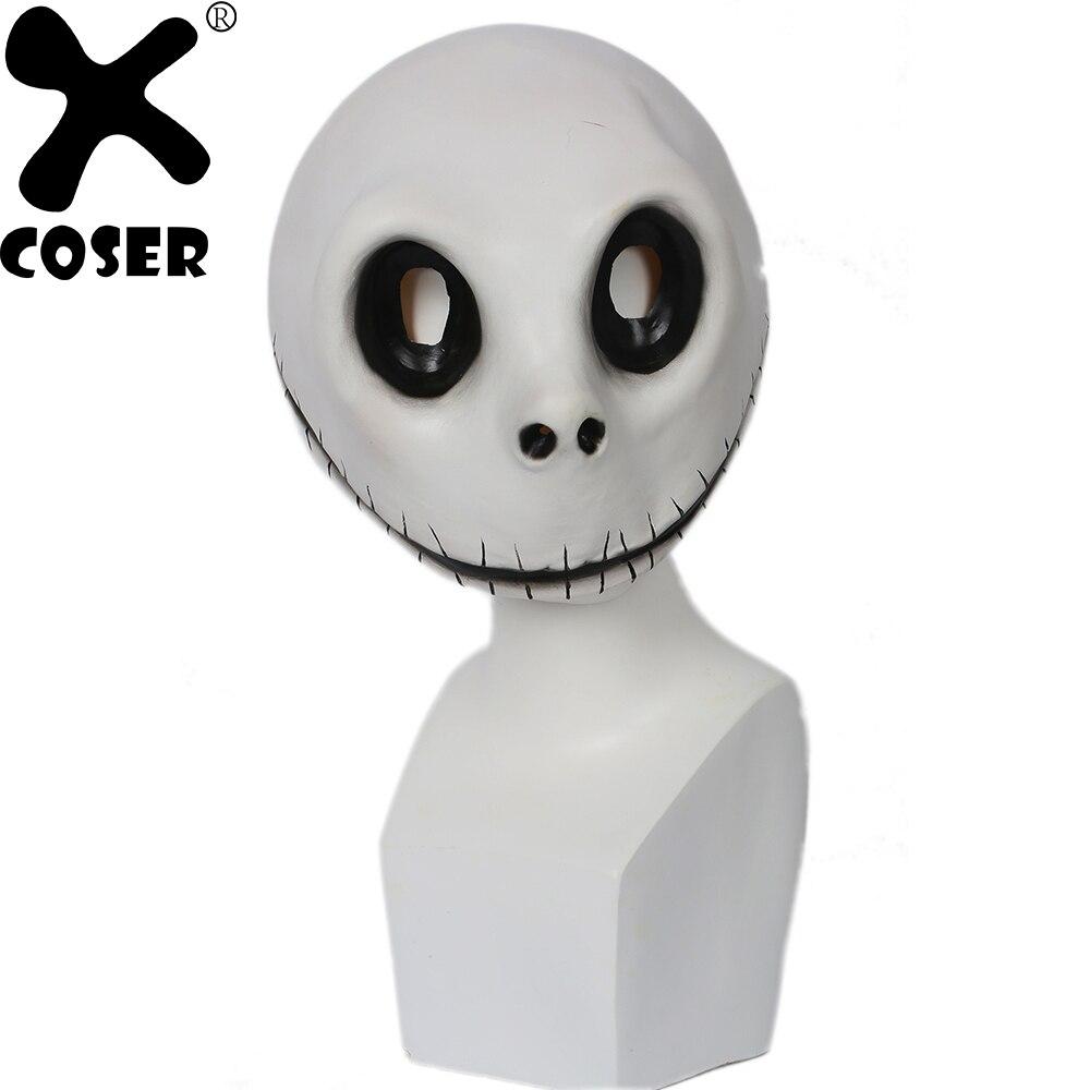 XCOSER Кошмар перед Рождеством Джек Скеллингтон маска реквизит для косплея белый латекс озорной полный головы маски для лица