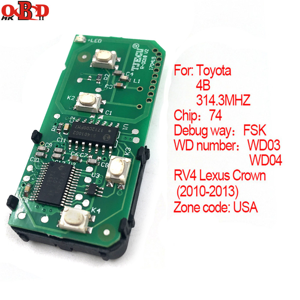 HKOBDII 271451 5290 USA 2010 2013 314 3MHz Cheapest 4 BUTTONS Smart Remote Board For Toyota