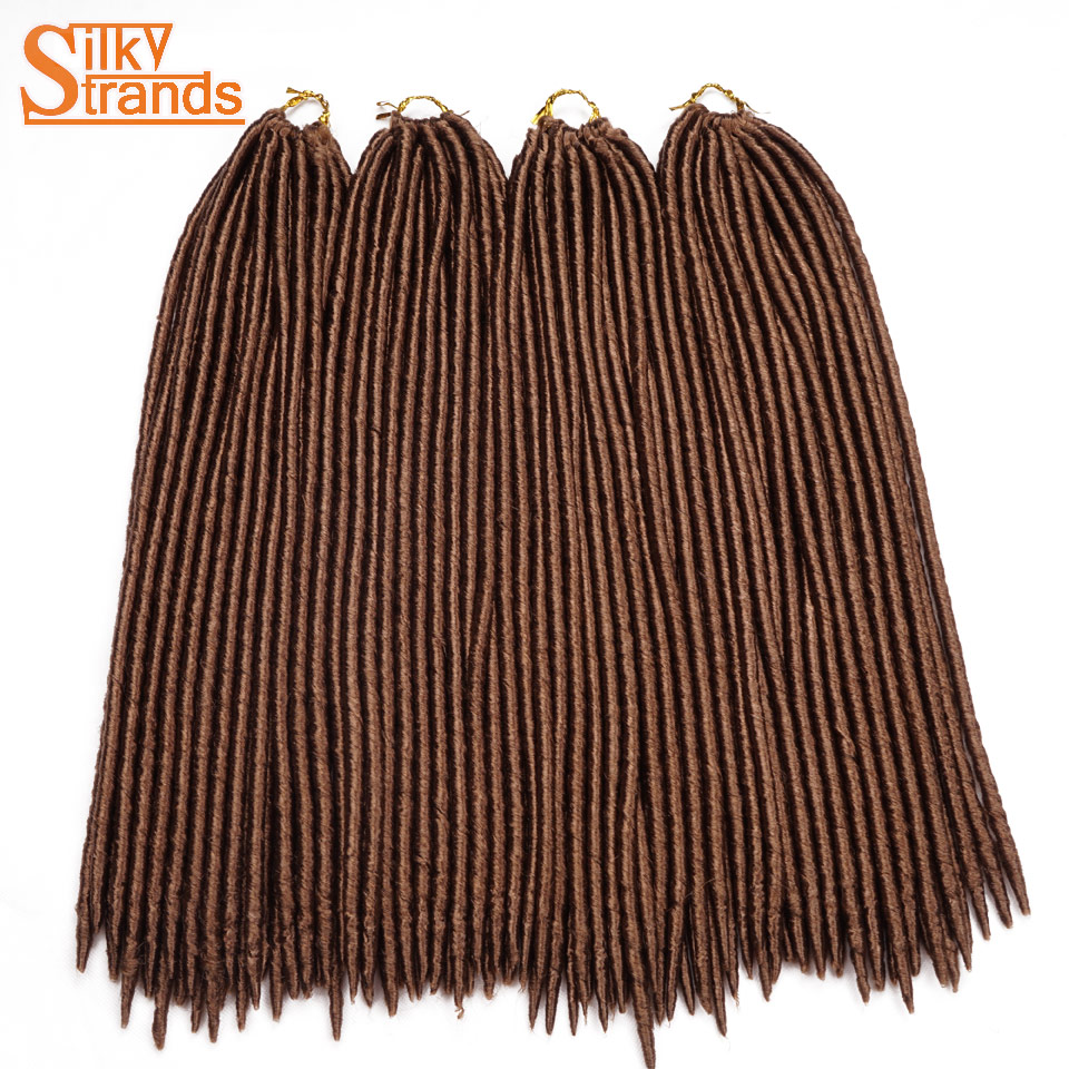Silky Strands 9PCS/Lot Ombre Faux Locs Crochet Hair 18'' 120g Straight Crotchet Braids Hair ...
