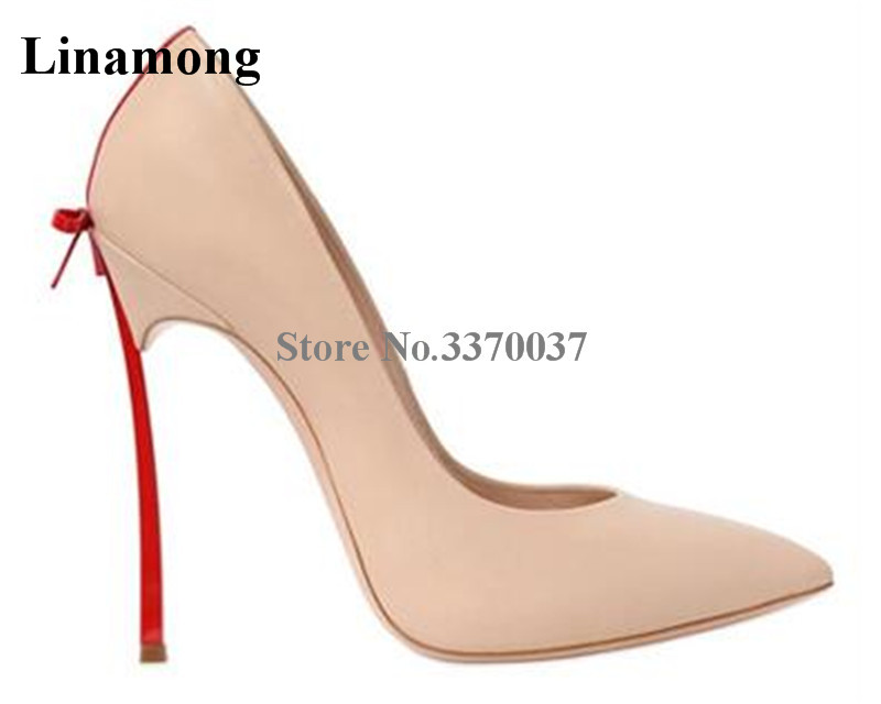 Ladies High Quality Pointed Toe Butterfly-knot Metal Stiletto Heel Pumps Red Black Bowtie Strange Heels Dress Shoes