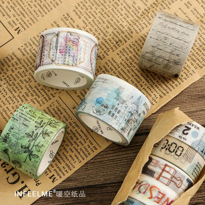 Japanese Paper Washi Tapes Retro Travel Plants Manuscript Masking Tapes Decorative Adhesive DIY Paper Scrapbooking Stickers