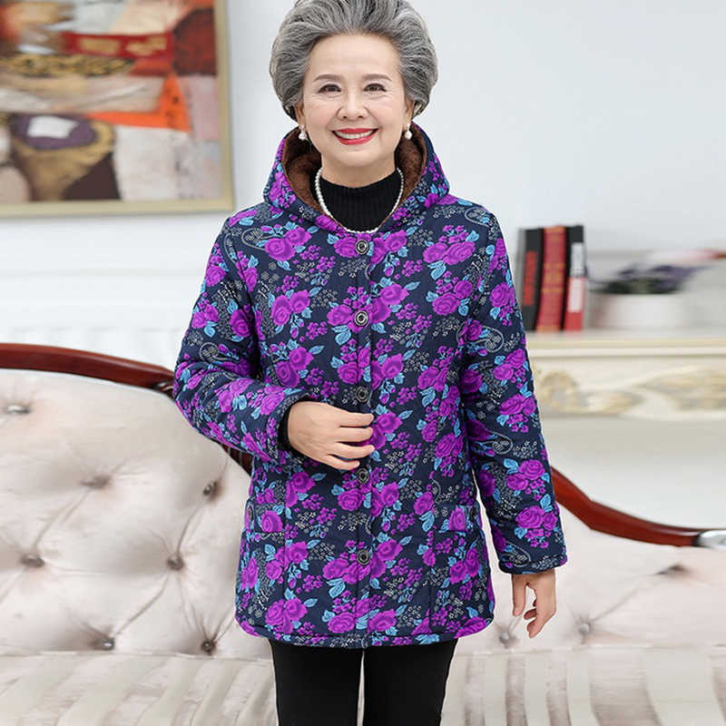 where can i buy new design official Plus size women's cotton jackets plus velvet thick guard clothes jacket  winter wear elderly winter printed hooded jacket Female