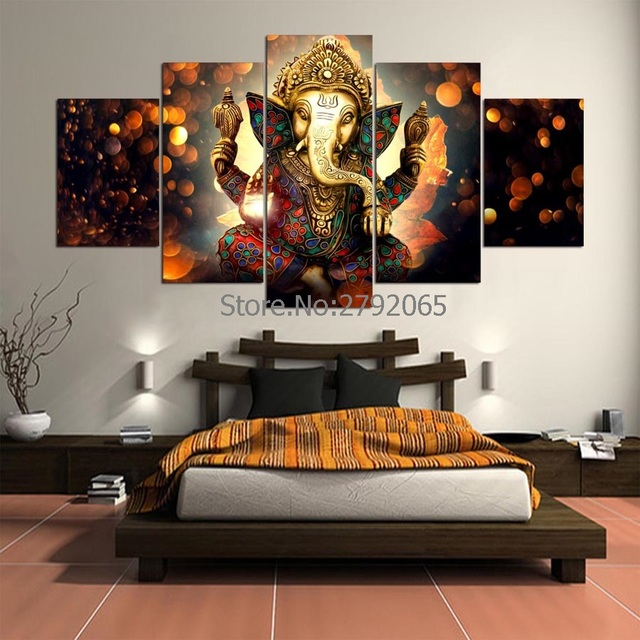 5 Pieces Hd Elephant Tromba Ganesha Unframed Canvas Painting Wall Art Home Decoration Impressions For