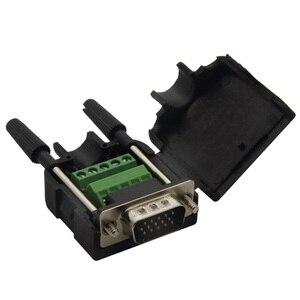 DB15 VGA разъем с задней стороны винтового разъема и очень короткой длиной корпуса