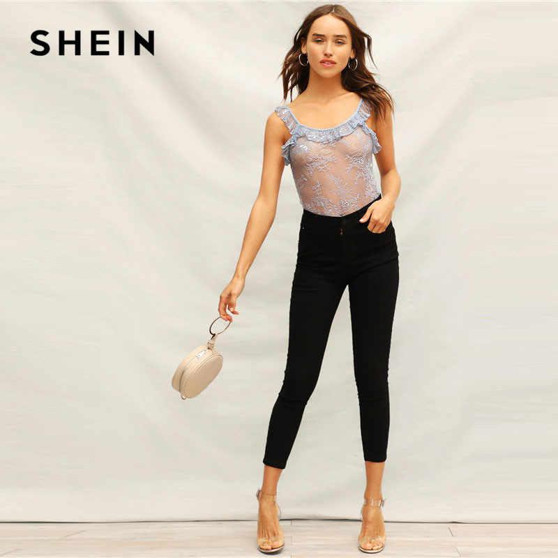 Шеин синий кружево Sheer Сексуальная рюшами отделкой Тощий летнее Боди без рукавов середины талии Slim Fit для женщин выдалбливают боди