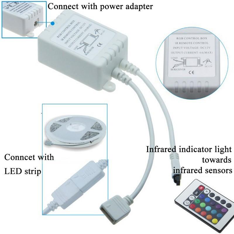 LED Strip 5050 fiexible light+24 keys controller+12V power adpater 60Ledm 5mlot White Warm white Red Green Blue Yellow RGB (11)