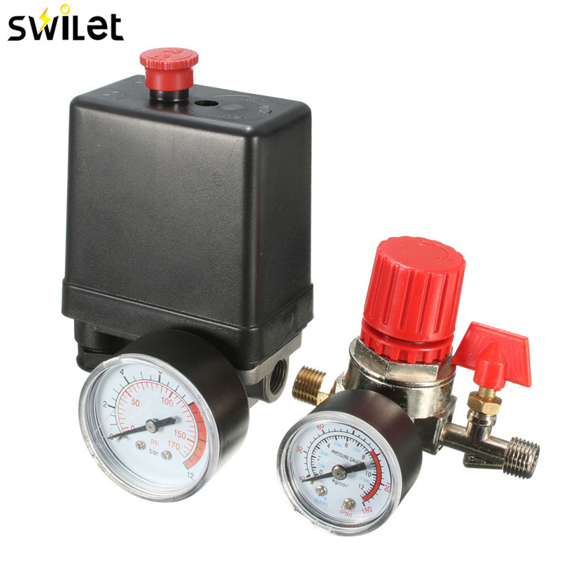 7.25-125 PSI Small Air Compressor Pressure Switch Control 15A 240V/AC Adjustable Air Regulator Valve Compressor Four Holes 180psi air compressor pressure valve switch manifold relief gauges regulator set