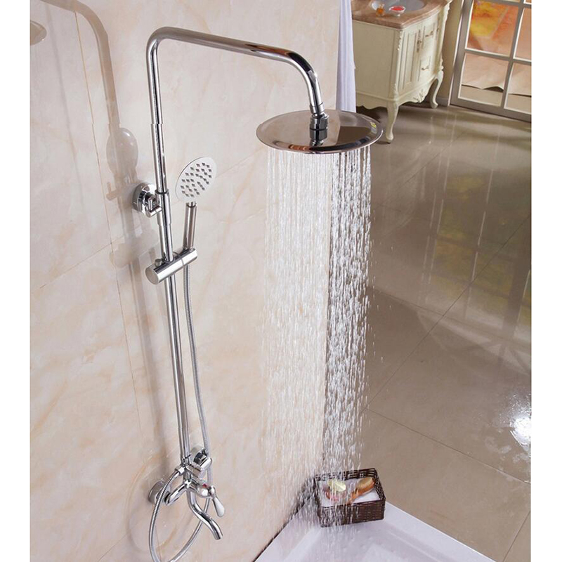 New Luxury Modern Chrome Finished Rain Shower Set Faucet Brass Material Chrome Mixer Tap Wall Mounted free shipping polished chrome finish new wall mounted waterfall bathroom bathtub handheld shower tap mixer faucet yt 5333