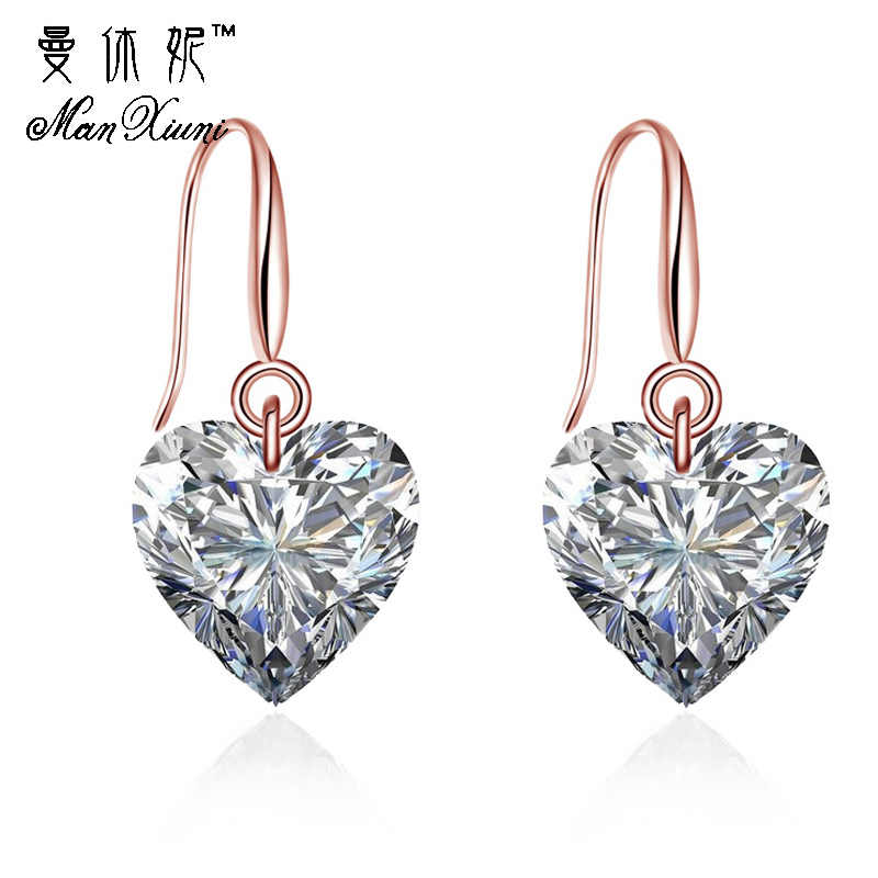Manxiuni Fashion Women Jewelry Drop Earrings Big Cubic zirconia Dangle Earrings Heart Gold Colored Long Earrings brinco grande
