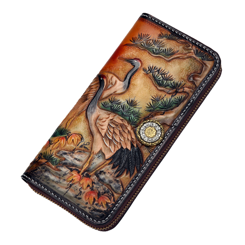 Handmade Genuine Leather Wallets Carving Red-crowned Crane Bag Purses Women Men Long Clutch Vegetable Tanned Leather Wallet ruffle sleeve red crowned crane print random blouse
