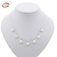 Snh 7-8mm aaa gota geniune necklacereal de perlas de agua dulce collar de perlas con broche de plata de china