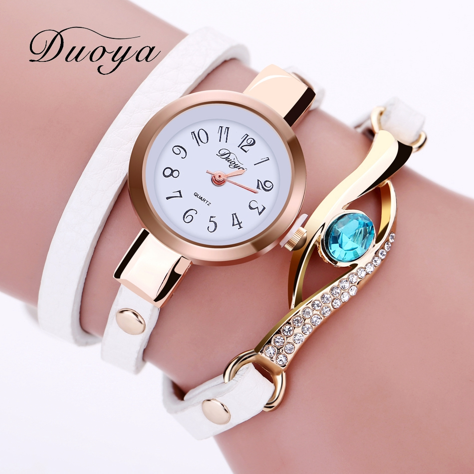 Duoya Brand Watch Women Luxury Gold Eye Gemstone Dress Watches Women Gold Bracelet Halloween Gift Leather Quartz Wristwatches eye pendent bracelet watch suitable for women