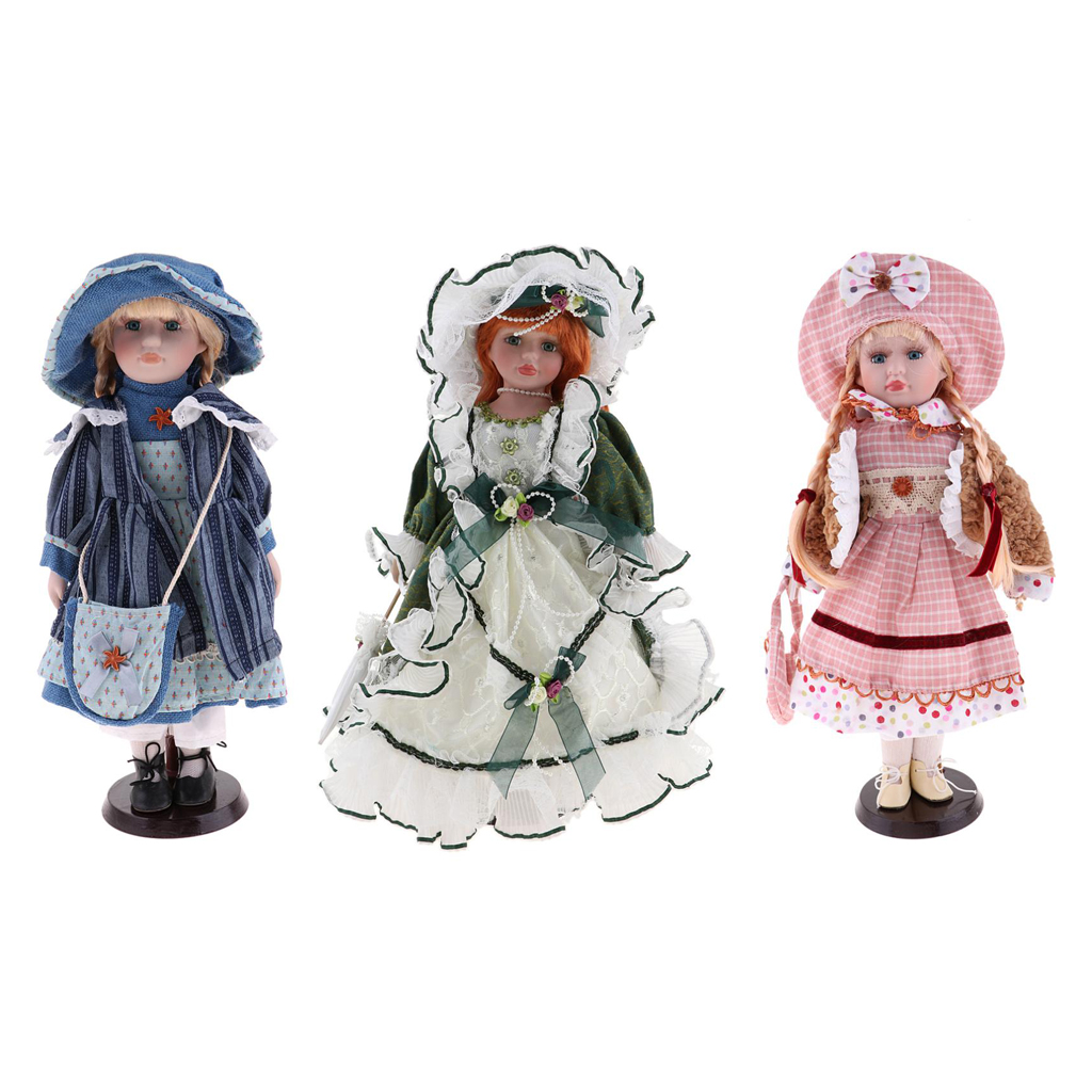 40cm Excellent Workmanship Doll DIY Accessory Vintage Porcelain Lady Dolls With Display Stand