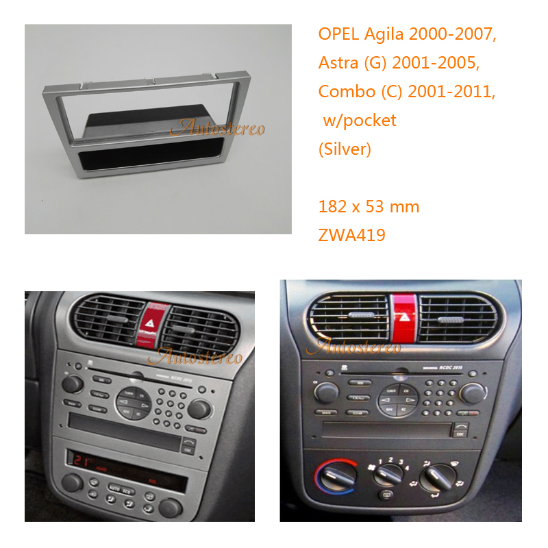 one din car radio refitting fascia frame for opel agila. Black Bedroom Furniture Sets. Home Design Ideas