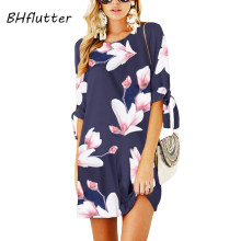 BHflutter Plus Size 2018 Women Dress Floral Print Half Sleeve Casual Summer Dress O neck Short Chiffon Dresses Robe Femme ete(China)