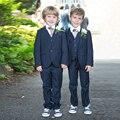 Chegada nova Meninos Ternos Do Bebê Menino Traje do baile de Finalistas Formal de Comunhão ternos 4 Peça Crianças Ternos Com Calça Casaco Gravata de Casamento colete