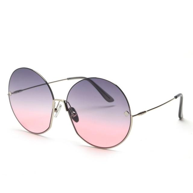 JackJad Fashion Oversized Round Metal Frame Rivets Sunglasses Women Semi-Rimless Brand Design Sun Glasses Oculos De Sol S31028 3