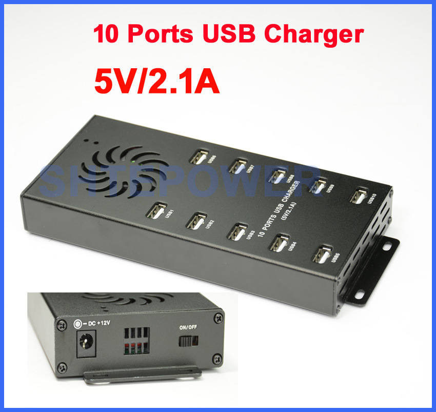 12V 10 Ports Hub USB Charger Aluminum shell for iPone/iPad/Mobile Phone/Camara/MP3/MP4 прикуриватель в авто oem 2 usb 12v 24v dc ipad iphone 4g ipod 2a 1a htc mp3 mp4 ect
