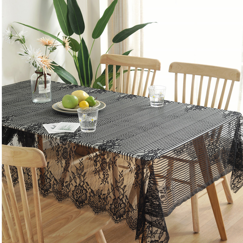 American Country Eyelash Lace Tablecloth Black White Beautiful <font><b>Table</b></font> Cover Napkin <font><b>Coffee</b></font> <font><b>Table</b></font> <font><b>Cafe</b></font> Book <font><b>Table</b></font> Cloth image