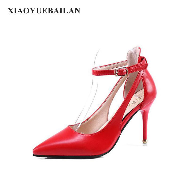 2017 New Pointed font b Shoes b font Sexy Red Thin And Hollow One Word Buckle