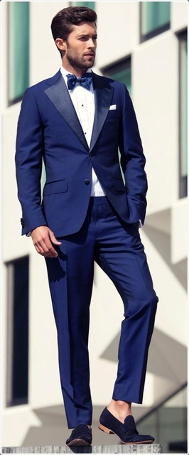 Blue Mens Wedding Suits Slim Groom Tuxedos Best Man Suits Jacket+Pants Prom Custom Made Suits