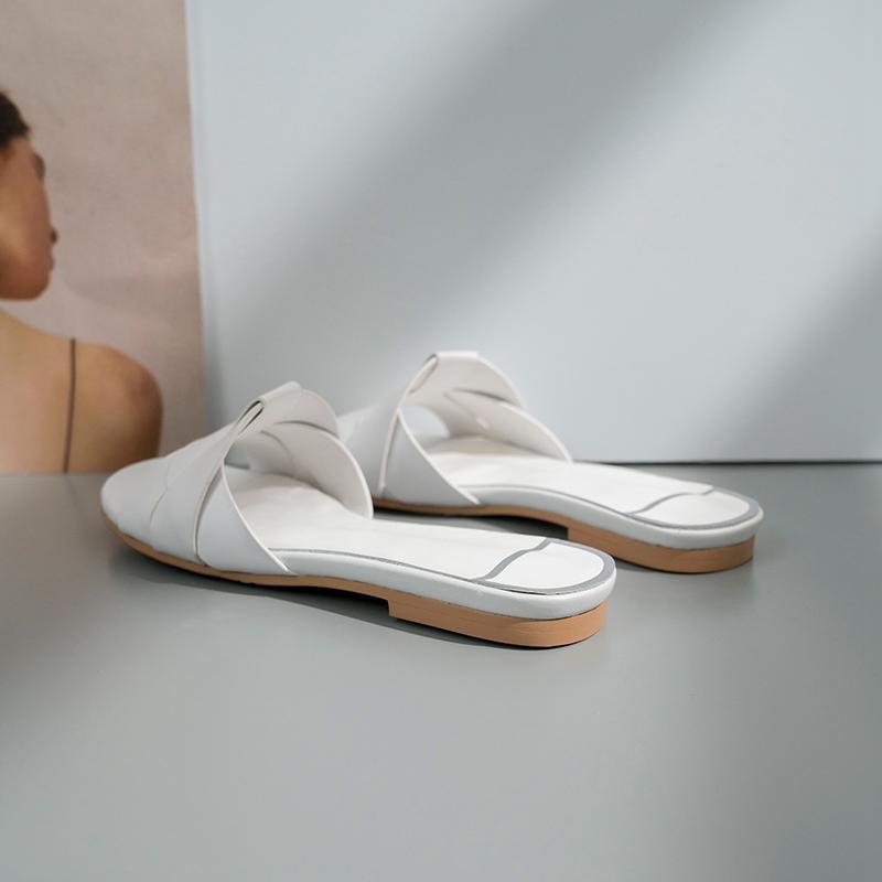 Ayakk.'ten Terlikler'de Krazing Pot yeni marka hakiki deri peep toe slaytlar düz yaz terlik özlü dairywear modeli gösterisi tembel plaj ayakkabısı l55'da  Grup 3
