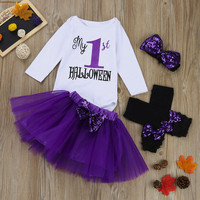 MUQGEW Baby Girl Clothes 4PCS Infant Baby Girl Letter Romper Leg Warmers Headband Tutu Skirt Outfit