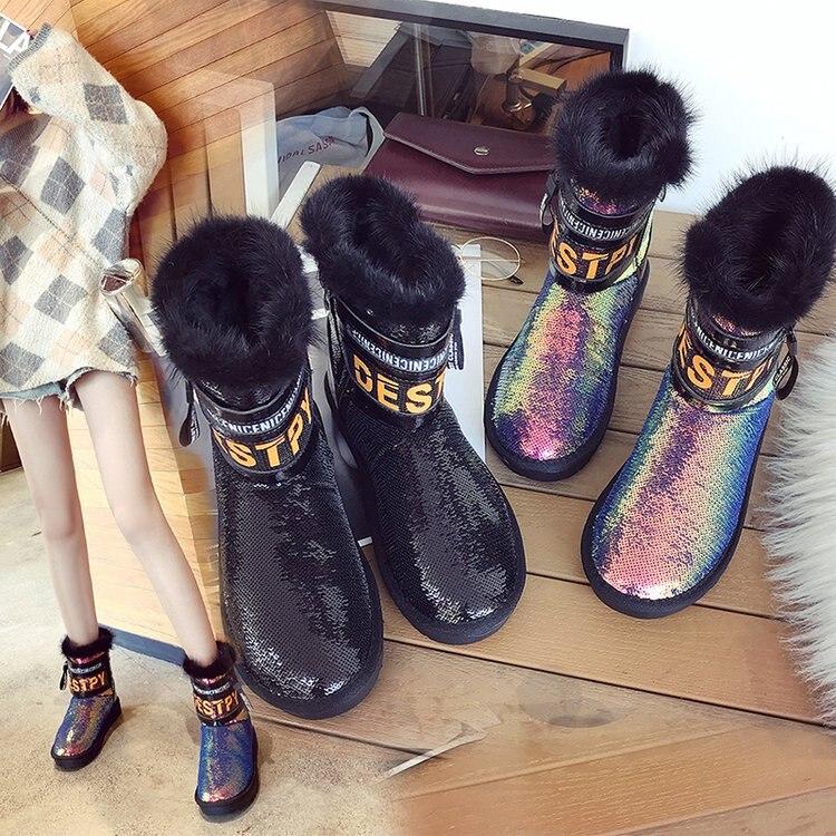 Oots kids 2018 hiver nouveau mode paillettes épaisses bottes de neige chaudes confortables bottes antidérapantes à semelles épaisses pour femmes.
