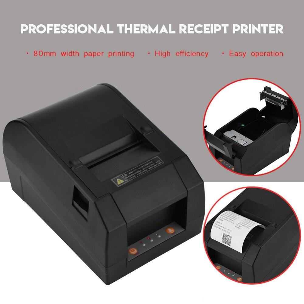 Professional USB 80mm Thermal Receipt Printer For Bank Supermarket POS Printing US EU UK Plug us plug thermal printer mini portable bluetooth wireless receipt thermal printer for android pc for restaurant supermarket