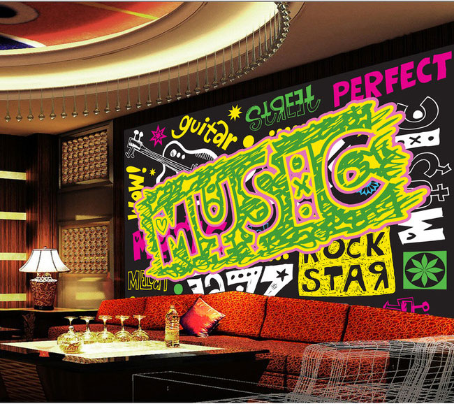 Music Graffiti Bar KTV decorative bedroom 3D wallpaper murals 3D wallpaper the living room TV backdrop painting  3D wallpaper blue earth cosmic sky zenith living room ceiling murals 3d wallpaper the living room bedroom study paper 3d wallpaper