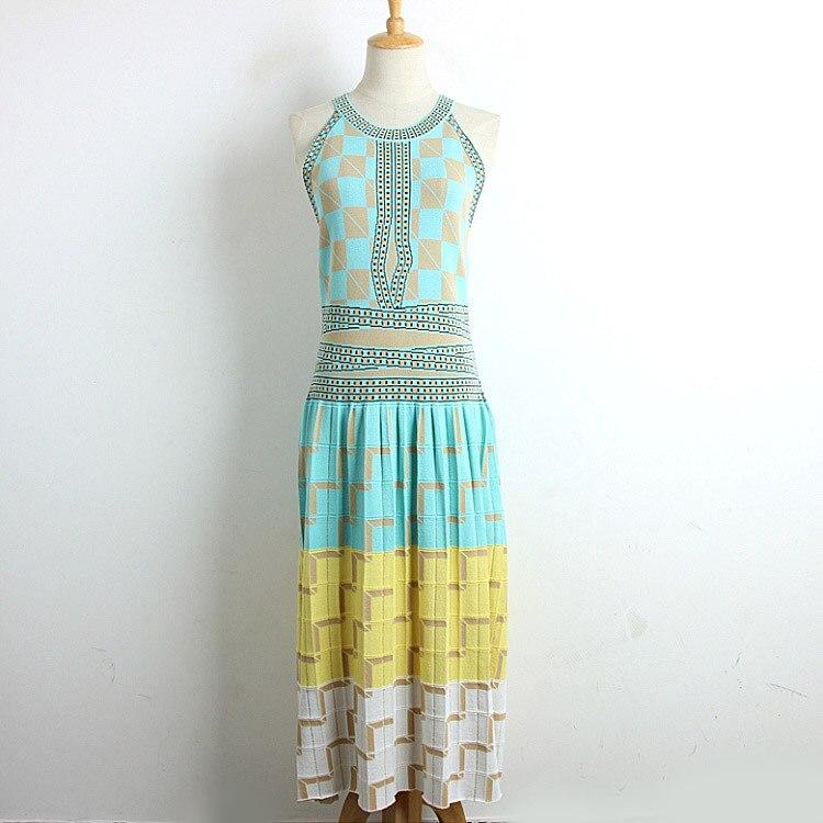 2019 robe tricotée élégante extensible sans manches géométrie imprimer femmes dames robes d'été