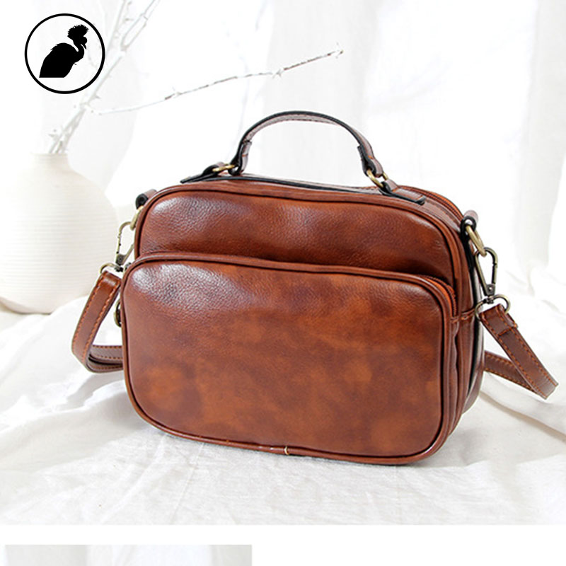 ETONWEAG Brands PU Leather Designer Handbags High Quality Messenger Bags For Women 2018 Brown Vintage Handbag Zipper Small Bag