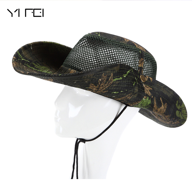 2018 New Outdoor Military Camouflage Bucket Hats Camo Fisherman Hats With  Wide Brim Sun Fishing Bucket Hat Beach Sun Hat b658c2b4f8ca