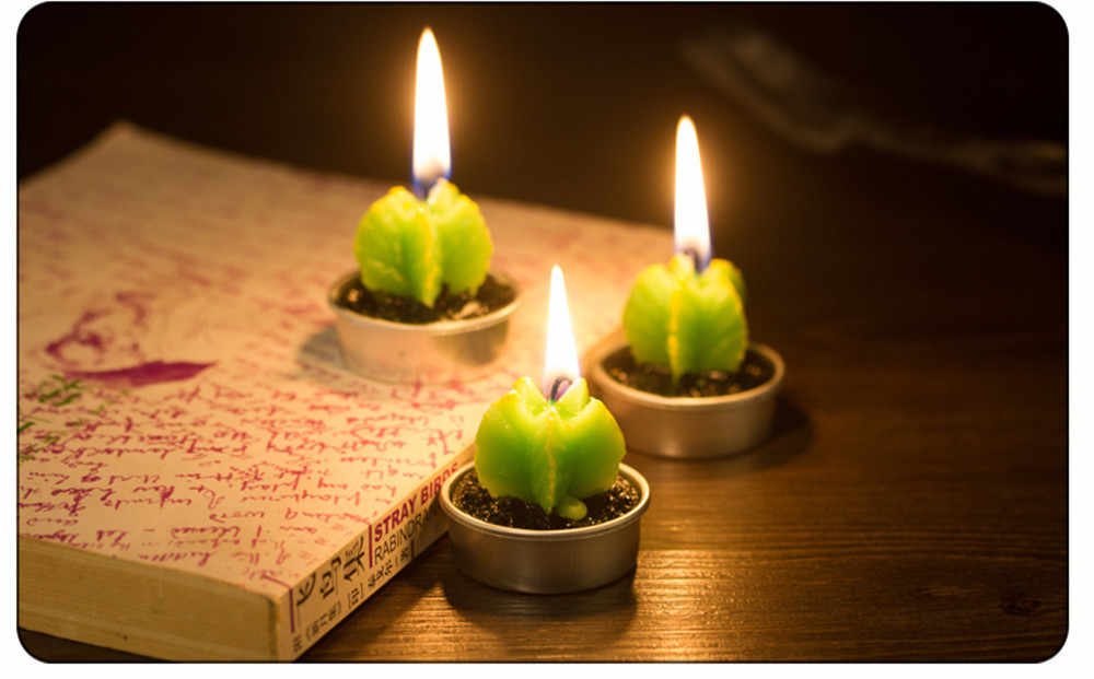 Non-spilling Cactus Candles for Home Decoration 6 Pcs Creative Decoration Candle Unscented Candles Home Decor Gift La Vela #X