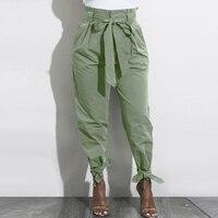 Cintura alta harem calças femininas primavera stringy selvedge com cinto casual sólido calças compridas para escritório calças femininas streetwear|Calças e capris| |  -