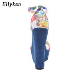 Eilyken 2019 New Designer Print Denim Sandals Roman Sandals High Quality Wedges High Heels Peep-Toe Platform Shoes Woman 4